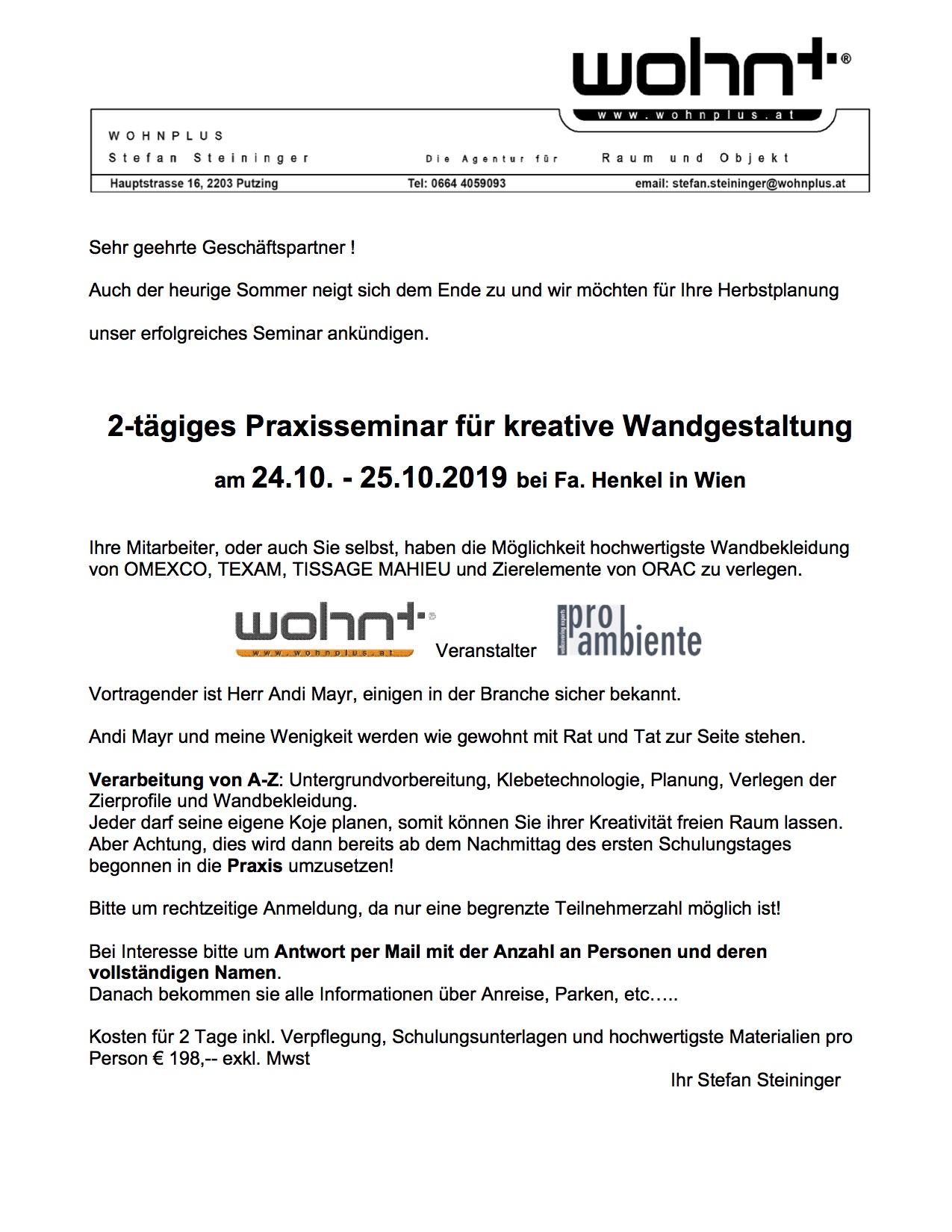 Fachseminar 2019 Herbst Wien